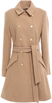 DKNY Double-breasted Belted Felt Coat