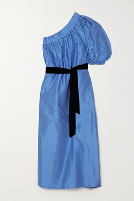 ARTCLUB - Aster One-shoulder Velvet-trimmed Silk-dupioni Midi Dress - Blue