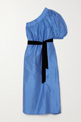 Artclub Aster One-shoulder Velvet-trimmed Silk-dupioni Midi Dress