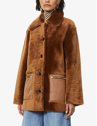 Sandro Rafalli single-breasted shearling coat