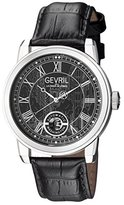 Gevril Men's 'Washington' Swiss Automatic Stainless Steel and Leather Casual Watch, Color:Black (Model: 2621L)