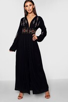 boohoo Petite Embroidered Button Front Maxi Dress