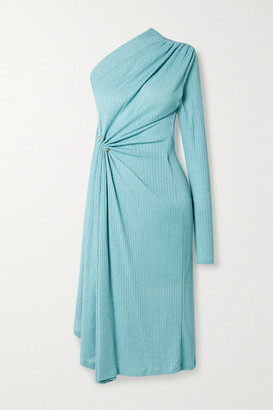 Dodo Bar Or Hannah One-sleeve Draped Ribbed Stretch-knit Midi Dress - Sky blue