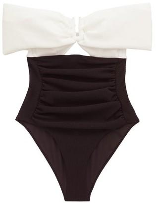 Self-Portrait Off-the-shoulder Cutout Swimsuit - White Black