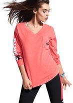 PINK Campus Long Sleeve V-Neck Tee