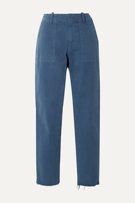 Nili Lotan Jenna Cropped Frayed Stretch-cotton Twill Straight-leg Pants - Blue