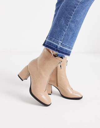 Miss Selfridge boots with flared heel in nude