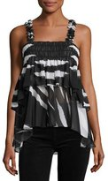 Tory Burch Lucca Sleeveless Animal-Striped Ruffled Top, Black/White