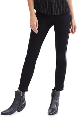 7 For All Mankind Mid-Rise Ankle Skinny Jeans with Tangled Chain Trim