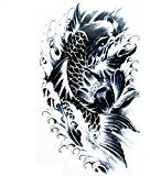 Grashine Halloween Tattoo for men and women black and white fish is swimming temporary tattoo stickers