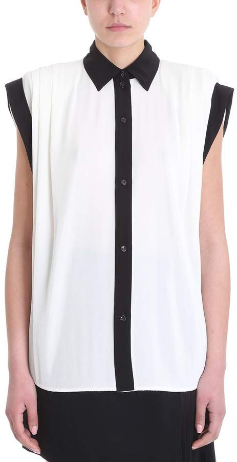 Givenchy Pleated White Silk Shirt