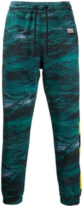Burberry Tape Detail Sea Print Track Pants