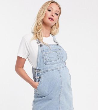Asos DESIGN Maternity denim dungaree dress in vintage blue