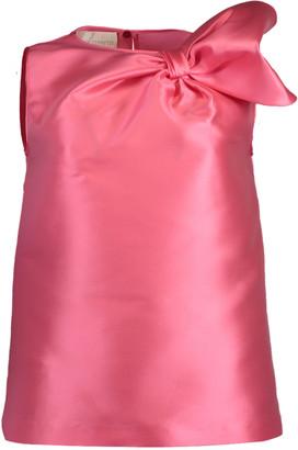 Alberta Ferretti Silk Bow Top