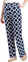 Glam White & Blue Quatrefoil Straight-Leg Maternity Pants