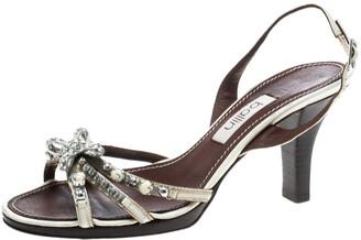Ballin White Strappy Leather Crystal Embellished Slingback Sandals Size 37