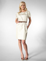 Pinched Dress with Chocolate Ostrich Belt in Silver Foil Jacquard