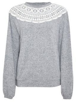 Dorothy Perkins Womens Grey Marl Lace Trim Top, Grey