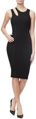 Good American The Bold Shoulder Cutout Ribbed Knit Midi Dress (Regular & Plus Size)