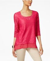 JM Collection Lace Chiffon-Hem Top, Only at Macy's