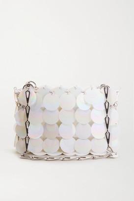 Paco Rabanne Nano Bridal Sparkle Paillette-embellished Faux Leather Shoulder Bag - White
