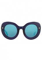 Matthew Williamson Navy Oversized Curved Cat Eye Sunglasses