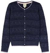 Yumi Heart Pointelle Lurex Cardigan Navy