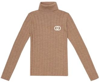 Gucci Kids Ribbed-knit wool turtleneck sweater