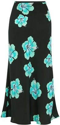 Rixo Kelly floral-print silk midi skirt