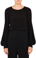 Chloé L/S Crepe Blouse With Button Detail Flared Sleeve