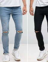 Asos Super Skinny Jeans 2 Pack In Black With Knee Rips & Mid Blue With Knee Rips SAVE
