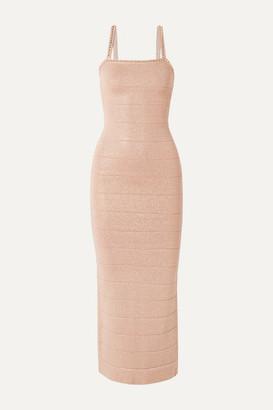 Herve Leger Crystal-embellished Metallic Bandage Midi Dress - Pink