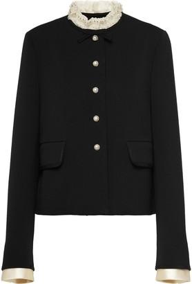 Miu Miu Single-Breasted Embellished Jacket