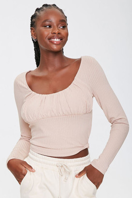 Forever 21 Ruched Long-Sleeve Top