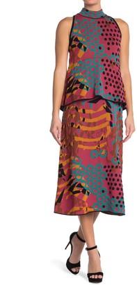 M Missoni Geometric Print Layered Midi Dress