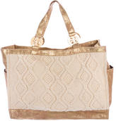 Tory Burch Metallic-Trimmed Cable-Knit Tote