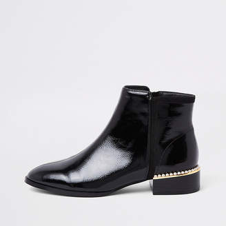 River Island Black wide fit pearl embellished ankle boots