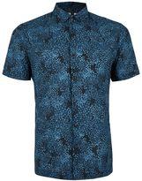 Topman Blue Abstract Print Short Sleeve Casual Shirt