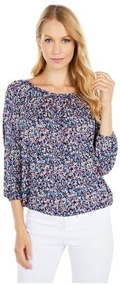 MICHAEL Michael Kors Dainty Bloom Peasant Top (Coral Peach) Women's Clothing