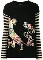 Etro tiger embroidered stripe jumper