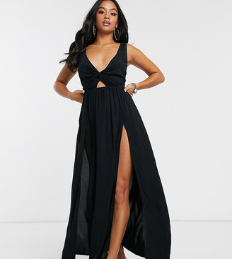 ASOS DESIGN PETITE tie back beach maxi dress with twist front detail in black