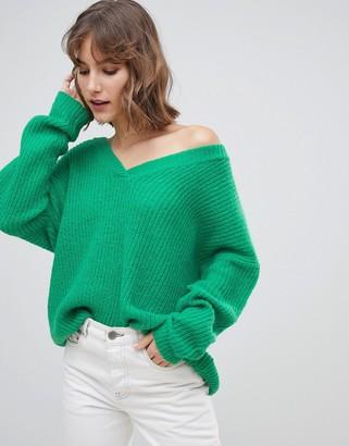 Asos Design DESIGN long line v neck sweater-Green
