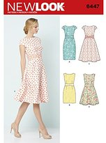 New Look Sewing Pattern 6447A Misses' Dresses, White
