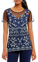 Peter Nygard Embroidered Sleeveless Blouse