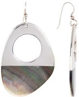 Simon Sebbag Sterling Silver Asymmetrical Half Dipped Tahitian Black Pearl Drop Earrings