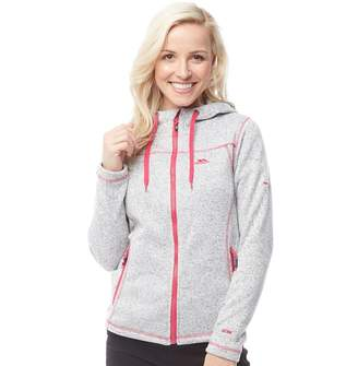 Trespass Womens Odelia Knitted Marl Full Zip Hooded Fleece Jacket Ghost
