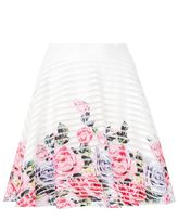 Quiz Cream And Pink Flower Print Hem Skater Skirt