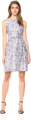 Anne Klein Women's Printed Shadow Stripe FIT & Flare