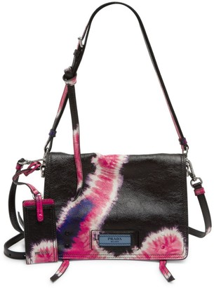Prada Tie-Dye Front Flap Leather Shoulder Bag