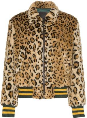 R 13 x Alison Mosshart leopard print bomber jacket